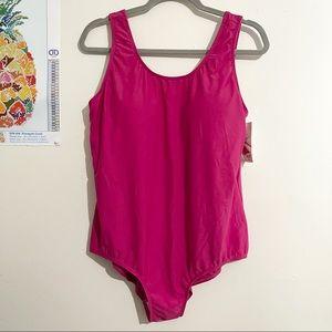 BLAIR Pink Padded Shelf Bra One Piece Swimsuit 16W